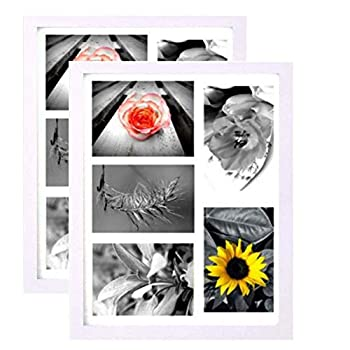 11x14  White Collage Picture Frame  2-Pack  - With HIGH DEFINITION GLASS Front Cover - Displays Five 4x6  Family Pictures with Mat - Hanging Hardware Pre-Installed