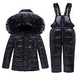 Livoral Mädchen Jungen Mit Kapuze Daunenjacken Oberbekleidung Mäntel Overall Kleinkind Kinder Winter Warme (C-Schwarz,5-6 Jahre)