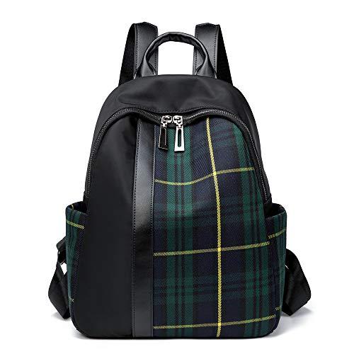 Tartan Plaid Backpack Canvas Nylon Fashion Daypack Women Shoulder Purses Traval Daily Ruchsack