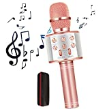 GOCTOS Karaoke Bluetooth Wireless Microphone 3 in 1 Portable Handheld Mic Speaker Machine for Company Meeting Family Kids Party - Compatible iPhone, Android, iPad, PC and All Smartphones (Rose Gold)