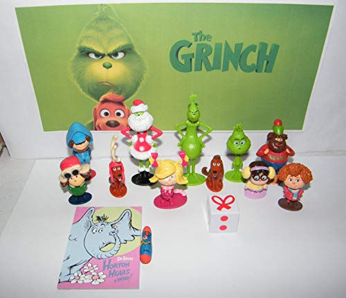 HappiToys The Grinch Movie Quality Figure Toy Set of 14 with 12 Figures, Notebook and Eraser Featuring Classic and All New Characters Including Brinklebaum, Groopert and More!