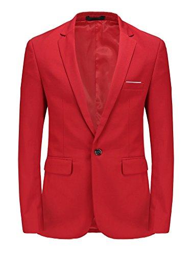 Men's Luxury Slim Fit Stylish Suit Blazer Jacket & Trousers Set 2-Piece, Red, Medium