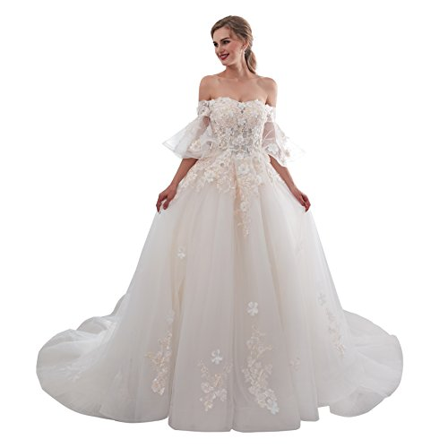 Wedding Dresses for Bride lace Applique Off The Shouder Women Princess Long Strapless Strap TrainWedding Party Dress White