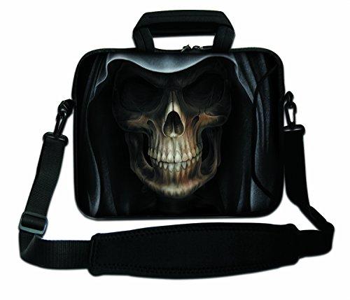 Luxburg® Schultertasche, 10 Zoll, weich, für Notebooks, mit Griff, Design: Das Gesicht des Todes