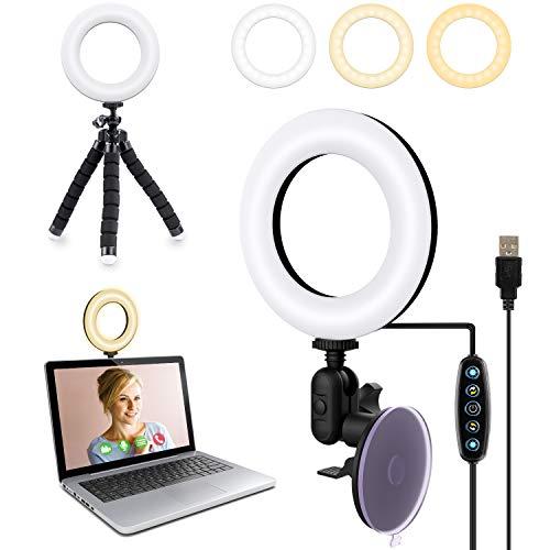 Videokonferenz Licht, Dimmbare LED Ringlicht Laptop Auf Laptop, Computer, Tablet mit Saugnapf und Stativ Ringlicht Webcam für Fernarbeit, Fernunterricht,...