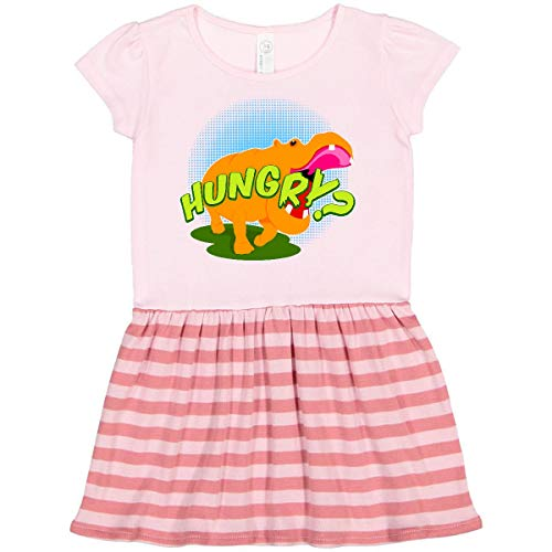 inktastic Hungry Hippo Toddler Dress 4T Pink with Stripes 11245