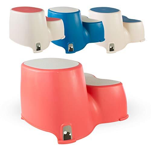 Toilettenhocker - WC-Stufen für Kleinkinder - Der freundliche Wal Kleinkind-Stufenwal - Kinder-Doppelstufenhocker - Lustiges Bad-WC-Training von Luvdbaby (Koralle Neutrales)