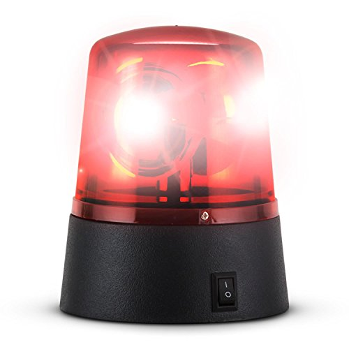 Ibiza JDL008R - zwaailicht, rood sirene licht, stroboscoop LED knipperlicht, decoratie, tuinfeest, werkt op batterijen, rood
