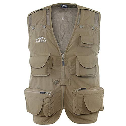JSY Outdoor fotografie vest ongedwongen sneldrogende vissen vest multi-pocket reporter tooling vest vest schouder vest Bodywarmers (Color : Beige, Size : L)
