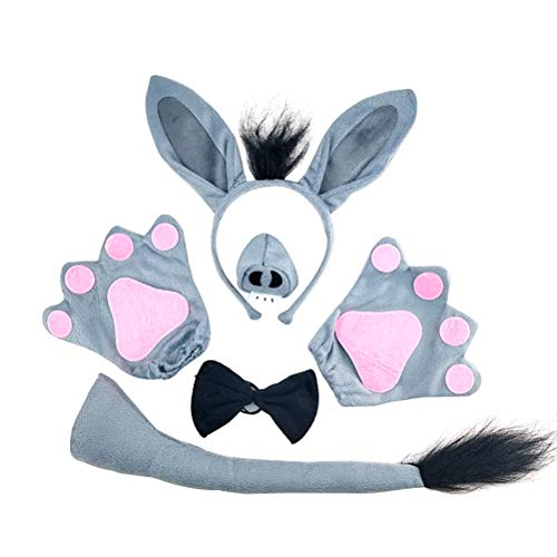 LUOEM 5 unids Kids Donkey Costume Set Animal Orejas Diadema Tie Nariz Tail Guantes Cosplay Accesorios para Performance Costume Masquerade Party