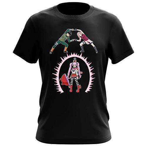 T-Shirt Homme Noir Parodie Naruto - One Piece - Sakura, Rock Lee et Perona - Fusion No Jutsu !! (T-Shirt de qualité Premium de Taille L - imprimé en France)