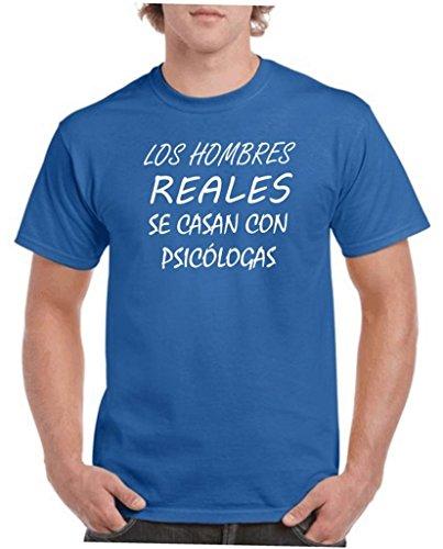 Camisetas divertidas Child Hombres Reales se Casan con psicologas - para Hombre Camisetas Talla XL Color Azul
