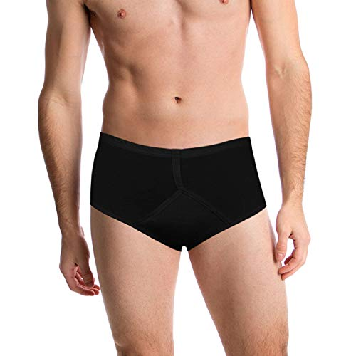 Incontinence Underwear for Men. Black Y-Front Style That is Fitted and Discrete. High tech Fabric and Modern Cut Locks in Urine Incontinence. The Perfect Simple Solution for an Age-Old (Large)