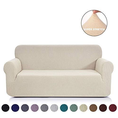 Ramotto Sofabezug Sofahusse, Spandex Stretch Sofahusse Couchbezug Sesselbezug Elastischer Antirutsch Stretchhusse Weich Stoff (Beige, 2-sitzer)