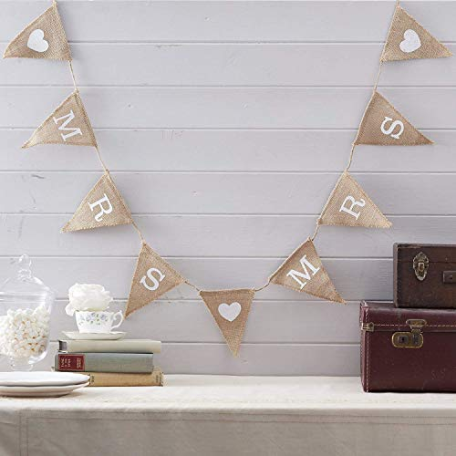 Explore Crafts Mrs & Mrs Same Sex Wedding Hessian Banner Engagement Vintage