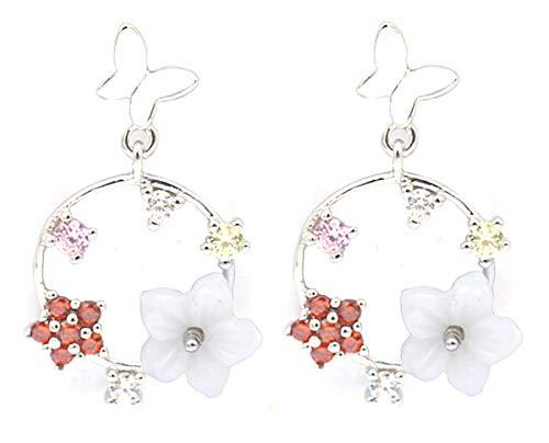 Dielay Pendientes para mujer de mariposa y flores, plata de ley 925, circonitas, diámetro de 12 mm