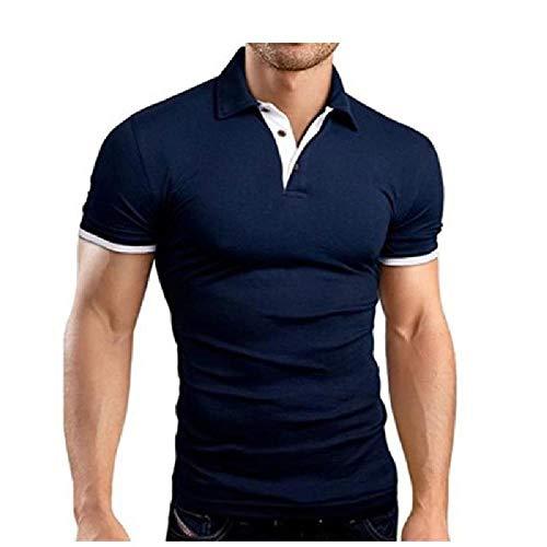 nobrand Polo da Uomo Casual in Cotone con Collo Alto a Maniche Corte in Cotone Casual Camicia Slim Fit Multicolore