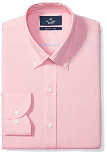 Amazon Brand - Buttoned Down Men's Slim-Fit Button Collar Solid, Pink, 16.5' Neck 35' Sleeve