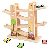 Wooden Car Track ,Wooden Ramp Racer Track, Toys for Toddler with 4 Mini
