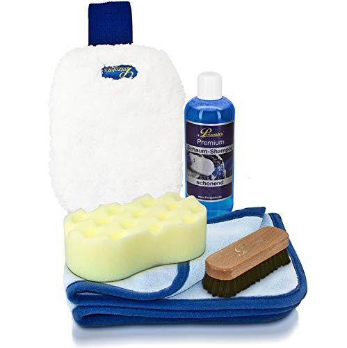 Petzoldts Cabrio- und Autowaschset mit Schaum-Shampoo, Waschhandschuh, Waschschwamm, Trockentuch, Reinigungsbürste