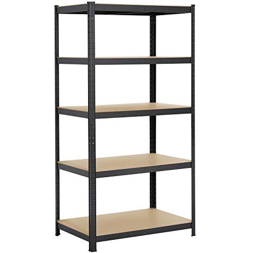 Yaheetech Industrial Garage Shelving 5-Tiers Metal Storage Racks Large Adjustable Utility Shelves 354W x 236D x 71H