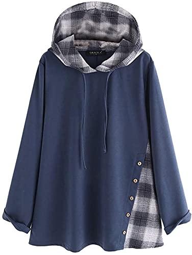BUTERULES Womens Sweatshirts and Hoodies Plaid Print Long Sleeve Casual Loose Drawstring Pullover -