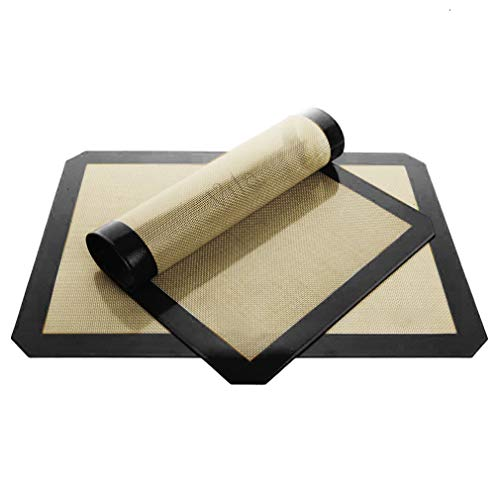 """Vila Baking Mats, 12"""" x 17"""", Tray Pan Liner for Healthy Dishes, Reusable Non-Stick Cookie Sheets, Perfect for Macarons, Pastry, Bread, Bun making, 2 Mats per Pack"""