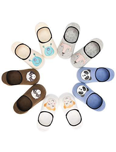 Adorel Baby Jungen Sneaker Socken Antirutsch 5er-Pack Panda & Affe & Fuchs 20-22 (Herstellergröße S)