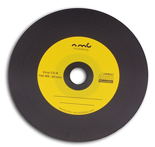 NMC 50 Vinyl CD-R Gelb Carbon Dye komplett schwarze Rückseite CD-Rohling 700MB