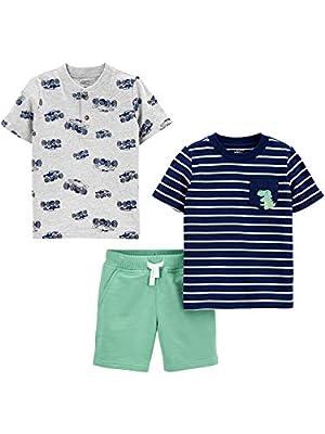 Simple Joys by Carter's Boys' Toddler 3-Piece Playwear Set, Dinosaur/Trucks, 4T by Simple Joys by Carter's