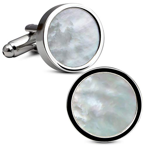 VIILOCK White Gold Plating Cufflinks for Men Mother of Pearl Mens Cuff...