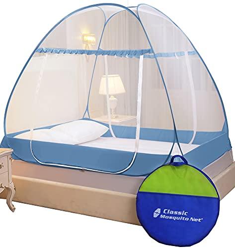 Classic Mosquito Net Premium Polyester Foldable, Double Bed King Size(L200cm X W200cm X H145cm - Blue.