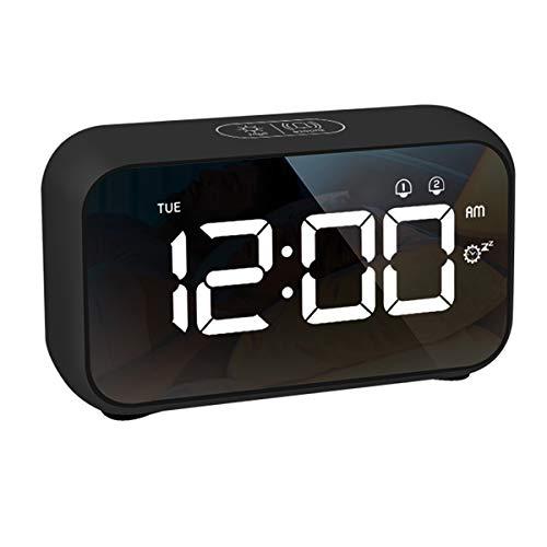LATEC Sveglia, Orologio Digitale Sveglia LED Display da Comodino 40 Suoni di Allarme Volume Allarme Regolabile e Luminosità Dello Schermo, Snooze, Doppio Allarme, Caricatore USB, 12 24H (Nero)