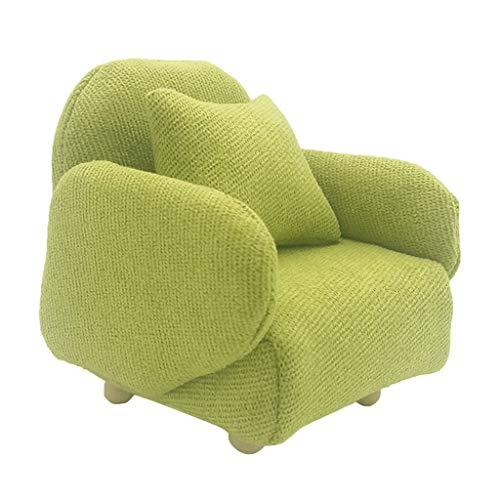 perfeclan Puppenhaus Sofa Sessel Couch Wohnzimmer Möbel Einzelsessel Ohrensessel Puppenmöbel Puppenhausszubehör - Grün