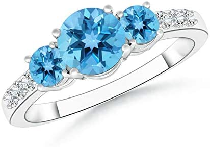Three Stone Excellence Round Swiss Blue Fresno Mall Topaz 6m Diamond with Ring Accents