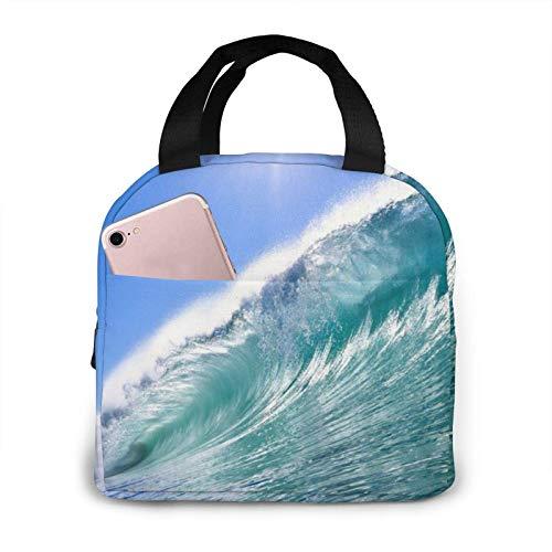 Big Ocean Wave Bolsa de almuerzo portátil impresa en HD Bolsa de almuerzo Bolsa de almuerzo Refrigerador con aislamiento Bolsa térmica reutilizable Bolsas de mano para mujer Trabajo Picnic o F