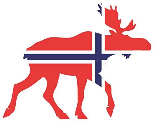 Samunshi® Elch Aufkleber Elchhirsche Norwegen Flagge Nationalfarben in 11 Größen (8x6,2cm Color_Title)