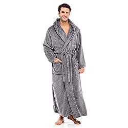 Alexander Del Rossa Mens Fleece Solid Colored Robe