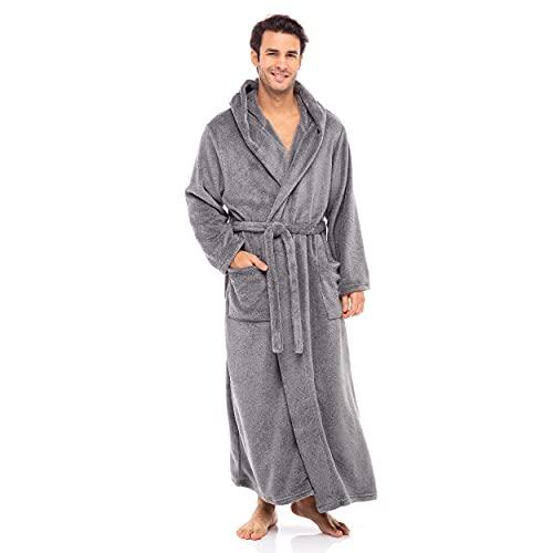 Alexander Del Rossa Men's Robe, Plush Fleece Hooded Bathrobe with...