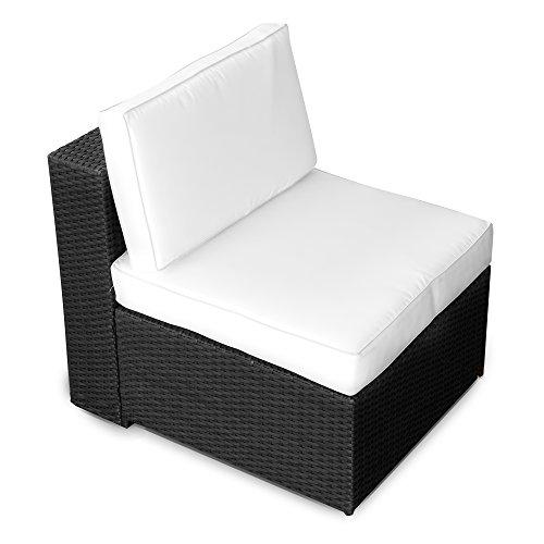XINRO® (1er Polyrattan Lounge Sessel - Mittelteil - Gartenmöbel Polyrattan Sessel - durch andere Polyrattan Lounge Gartenmöbel Elemente erweiterbar - In/Outdoor - handgeflochten - schwarz