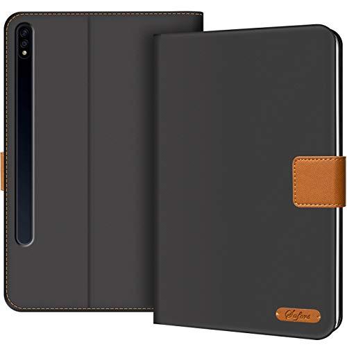 Verco Hülle für Samsung Galaxy Tab S7 Plus 12.4 (2020), Schutzhülle Tablet Tasche Standfunktion Cover für Samsung Tab S7+ [T970 T975], Schwarz