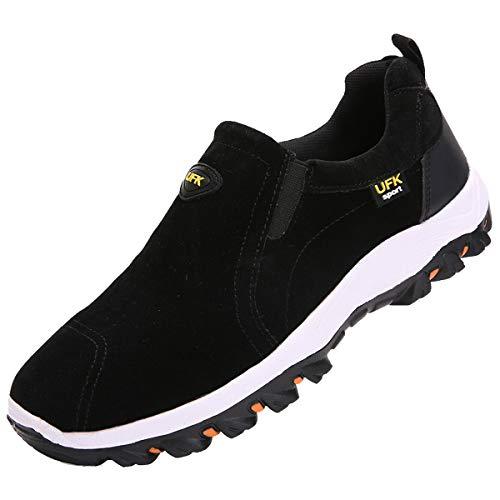 zpllsbratos Zapatillas sin Cordones Hombre Casual Zapatos Mocasín Zapatos para Caminar Senderismo 39-48(Negro,42)
