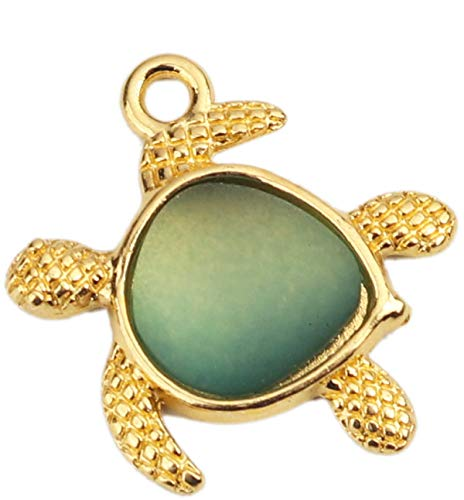 Sadingo Colgante con forma de tortuga, dorado y verde claro, 5 unidades, 20 mm, para fabricación de joyas con ojal para colgar.