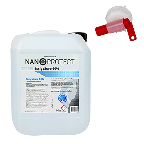 Nanoprotect Essigsäure 60%   10 kg inkl. Spezial Auslaufhahn   Premium Qualität