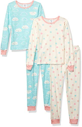 Gerber Baby Girls Organic 2 Pack Cotton Footed Unionsuit, 12 months, CLOUD DOTS