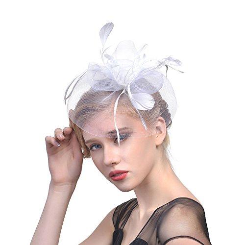 iKulilky iKulilky Damen Mesh Blume Pillbox Hut Feder Fascinator Hut Hochzeit Haarschmuck Kopfbedeckung für Party Kirche Cocktail
