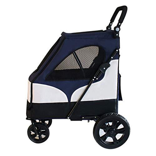 2-en-1 Remolque Cochecito del Animal doméstico/Bicicletas for Perros medianos a pequeños, Ligero Perro/Gato/Animal Cochecito de Desplazamiento del Carro, 1-Mano Quick Fold (Color : Blue)