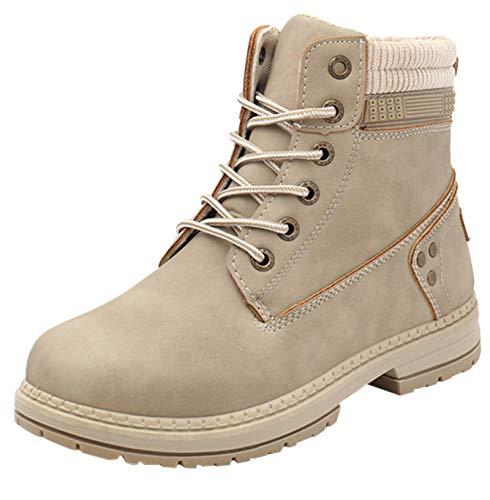 DADAWEN Women's Round Toe Waterproof Lace up Work Combat Boots Low Heel Ankle Booties Khaki US Size 6