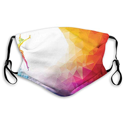 Máscara de tela reutilizable transpirable para pasamontañas, deportes, gimnasia, niña, gimnasia, retrato geométrico, formas digitales, resistentes al viento, tamaño de adultos: M