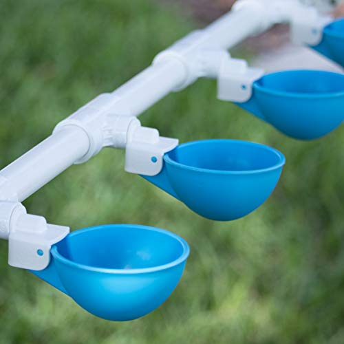 Backyard Flock Expansion Pack for The Oasis Poultry Watering System (Sold Separately) - 4 Cups (Blue) with PVC Tee Fittings